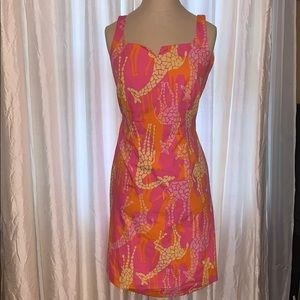 Lilly Pulitzer Giraffe mini shift dress v cut 2
